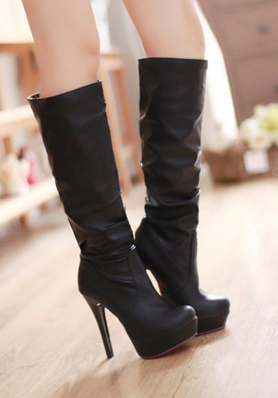 Botas de la rodilla-altas punta rojoonda del estilete ocasional negro