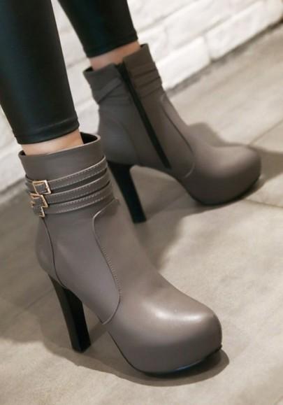Stivaletti punta tonda fibbia moda grigio