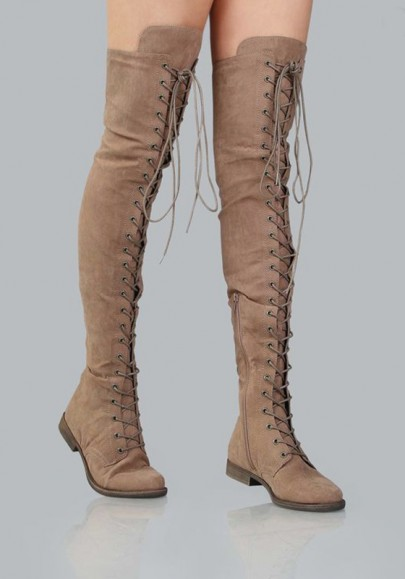 Khaki Round Toe Lace-up Fashion Over-The-Knee Boots
