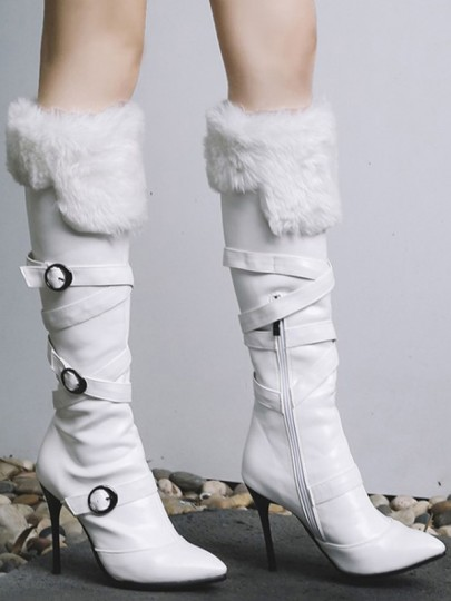 White Point Toe Stiletto Buckle Faux Fur Patchwork Fashion Knee-High Boots