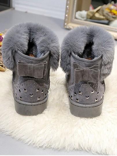 Bottes de neige strass noeud papillon fourrure hiver doux femme chaussures gris