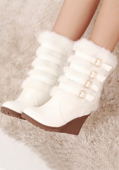 White Round Toe Wedges Buckle Fashion Mid-Calf Boots