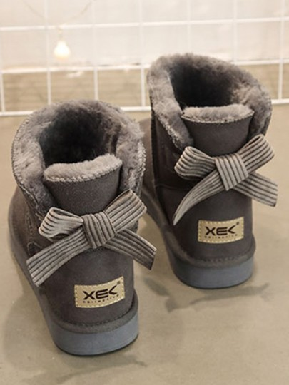 Grey Round Toe Flat Bow Casual Ankle Boots