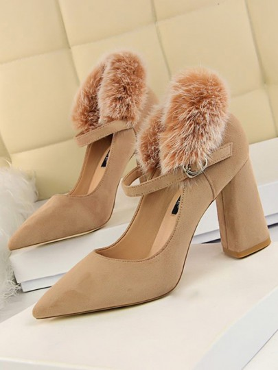 Khaki Point Toe Chunky Faux Fur Fashion High-Heeled Shoes
