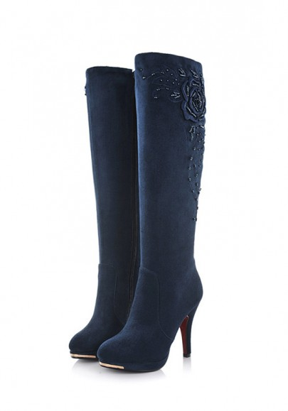 Blue Round Toe Stiletto Embroidery Fashion Knee-High Boots
