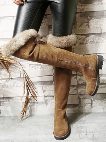 Yellow Round Toe Chunky Casual Fur Zipper Over-The-Knee Boots
