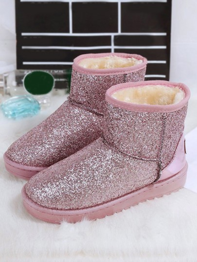 Pink Round Toe Flat Sequin Fashion Ankle Boots