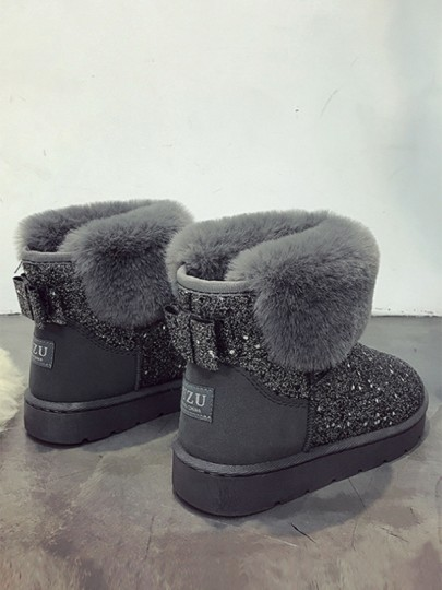 Grey Round Toe Flat Bow Sequin Fashion Cute Ankle Snow Boots