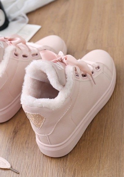Pink Round Toe Lace-up Fashion Shoes