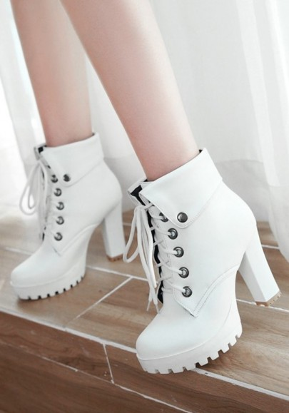 White Round Toe Chunky Lace-up Fashion Ankle Boots