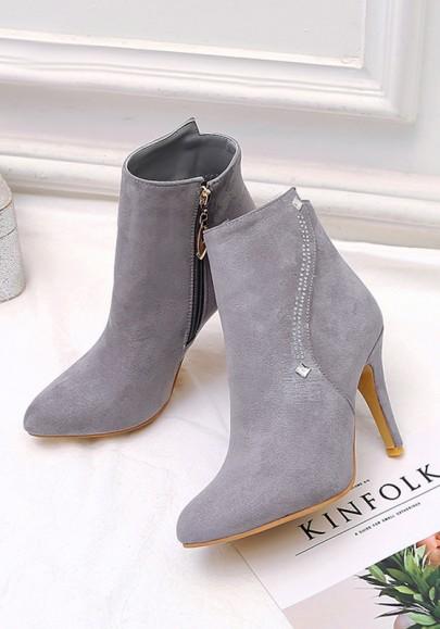 Grey Point Toe Stiletto Rhinestone Fashion Ankle Boots