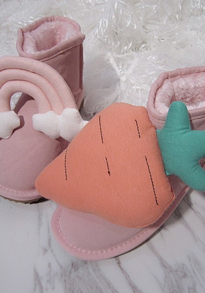 Pink Round Toe Carrot Cloud Sweet Ankle Boots