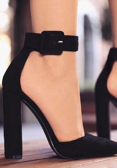 Scarpe con punta tonda fibbia alla moda tacco alto nero