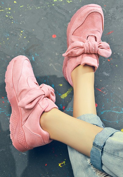 Pink Round Toe Flat Lace-up Fashion Ankle Shoes