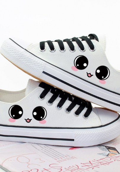 White Round Toe Flat Eyes Print Casual Ankle Shoes