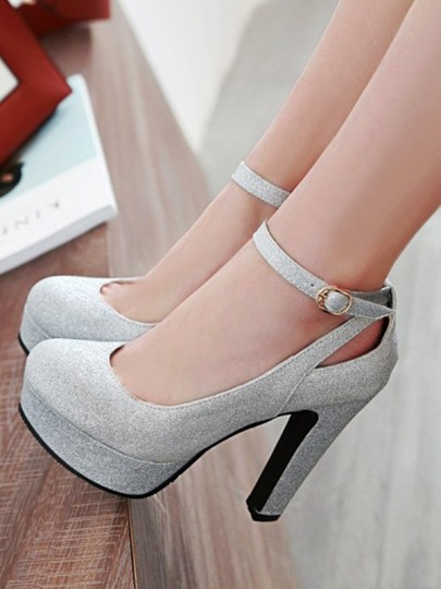 Silber Runde Zehe Blockabsatz Fesselriemen Mode Elegante High Heels Damen Schuhe Pumps Hochzeit Party