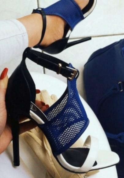Blue Round Toe Stiletto Buckle Patchwork Fashion High-Heeled Sandals