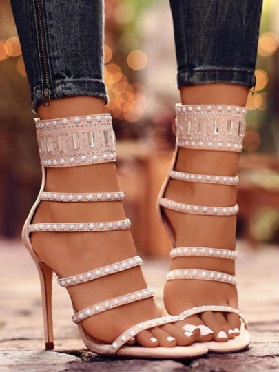 Apricot Round Toe Stiletto Cut Out Rhinestone Fashion High-Heeled Sandals