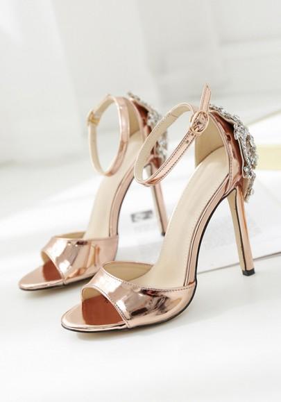 Sandales à talon haut luxe strass bride cheville mode femme champagne dorée
