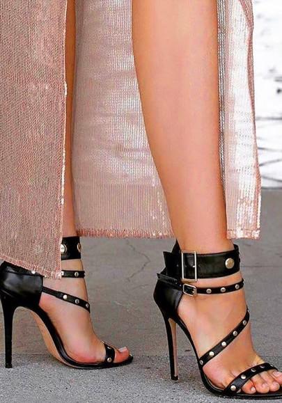 Sandalias punta redonda remache tacón de aguja moda tacón alto negro
