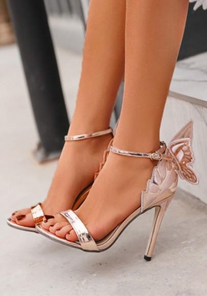 Golden Runde Zehe Stilett mit Schmetterlinge Mode Party Schuhe High Heels Sandalen Damen