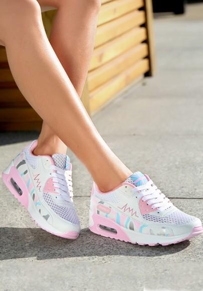 Weiß Rosa Runde Zehe Druck Flickwerk Schnürsenkel Luftkissen Mode Beiläufige Schwere Soled Schuhe Sneaker Damen