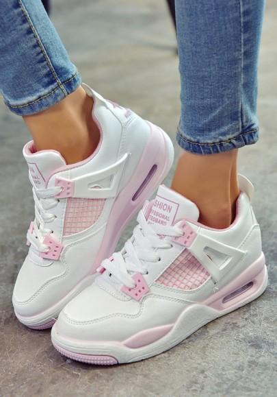 Weiß Rosa Runde Zehe Schnürsenkel Luftkissen Mode Beiläufige Schwere Soled Schuhe Sneaker Damen