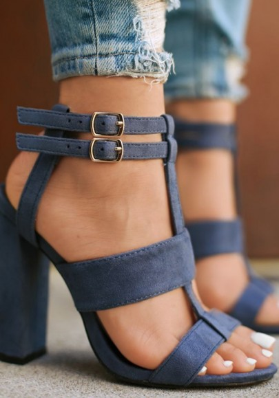 Blau Runde Zehe Blockabsatz Fesselriemen Knöchel Sommmer Sandalen Hochhackige Party Schuhe Damen