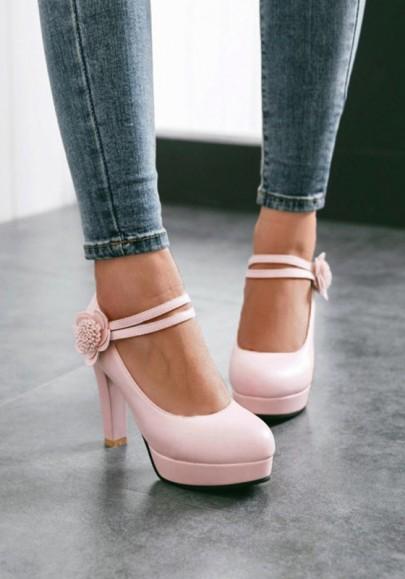 Rosa Blume Velcro Gürtel Runde Zehe Blockabsatz Plateau Rauh mit High Heels Süß Mode Hochhackige Schuhe Damen