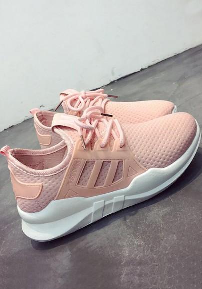 Rosa runde Zehe flache Cross Strap Beiläufig Knöchel Schuhe