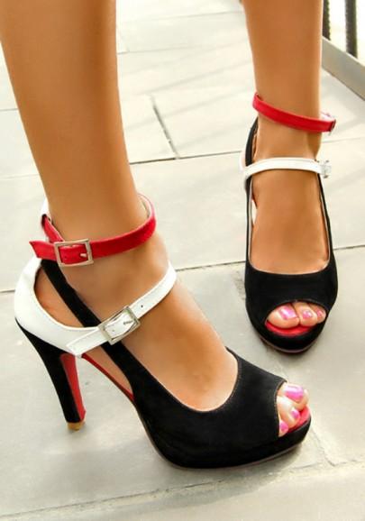 Schwarze Weiße Rotes Pool Mund Stiletto Schnalle Patchwork Mode High-Heels Sandaletten Damen Schuhe