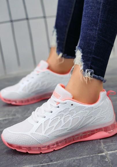Weiß Rosa Runde Zehe Schnürsenkel Beiläufige Luftkissen Mode Sport Flache Schuhe Sneaker Damen