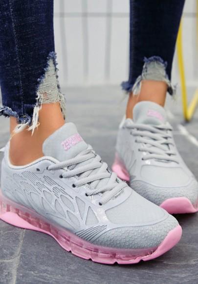 Graue Rosa Runde Zehe Flache Schnüren Lässige Knöchel Sports Schuhe Sneakers Running Damen