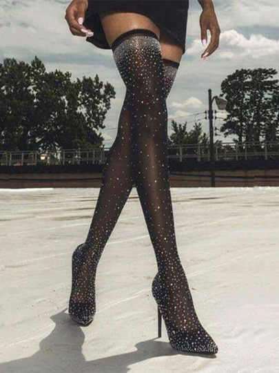 Black Point Toe Stiletto Rhinestone Fashion Over-The-Knee Boots