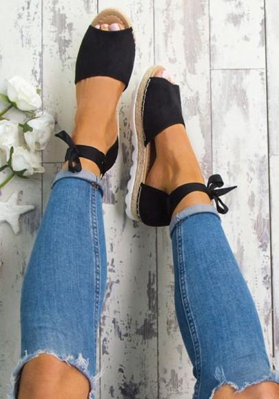 Espadrilles peep toe plat cheville sangle décontracté femme sandales noir