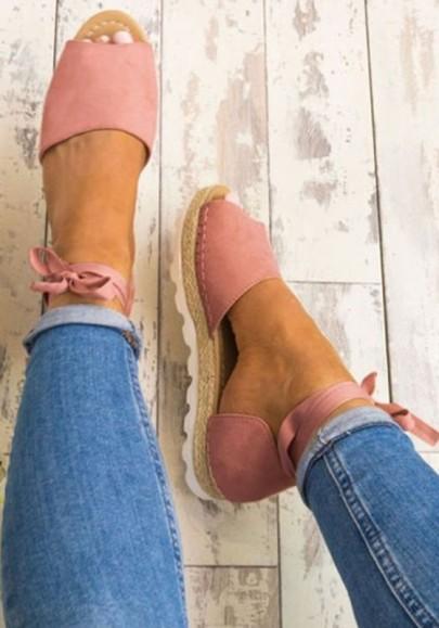 Rosa Piscine Mouth Flachen Lace Up Lässige Schnürung Sommmer Römer Sandalen Damen Schuhe