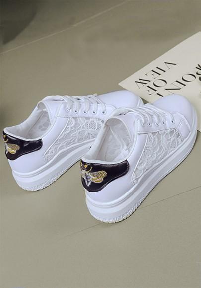 Weiße und schwarze runde zehe flache Granatapfellikör Flickwerk zufällige schwere Schuhe