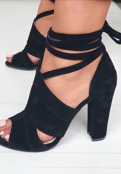 Schwarze Runde Zehe Piscine Mund Blockabsatz Schnürung Mode Hochhackige Sandalen Damen Schuhe
