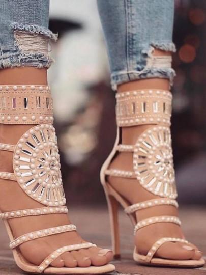 Sandales bout rond coiffert mode perle à talons hauts abricot