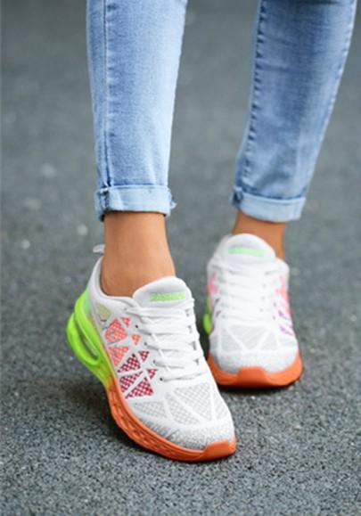 Schwarze Orange Runde Zehe Schnürsenkel Luftkissen Mode Beiläufige Schuhe Sneaker Damen