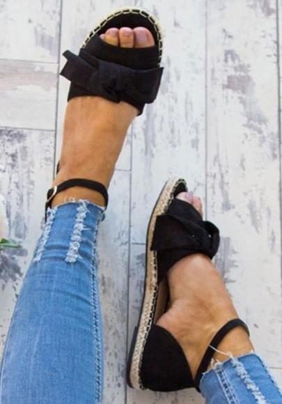 Sandales avec noeud papillon plat cheville sangle boucle mode femme espadrilles noir