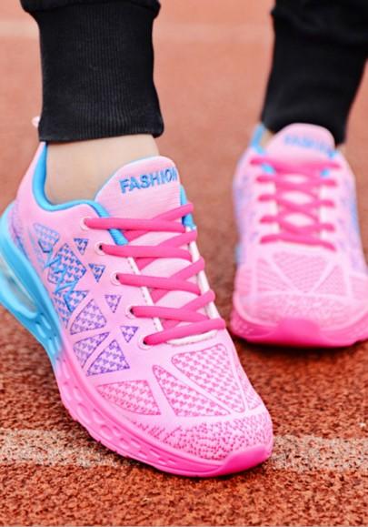Rosa Blau Runde Zehe Schnürsenkel Beiläufige Luftkissen Mode Sport Flache Schuhe Sneaker Dame