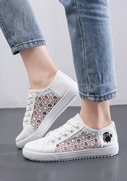 Weiße runde zehe flache Granatapfellikör Stickerei zufällige Schuhe