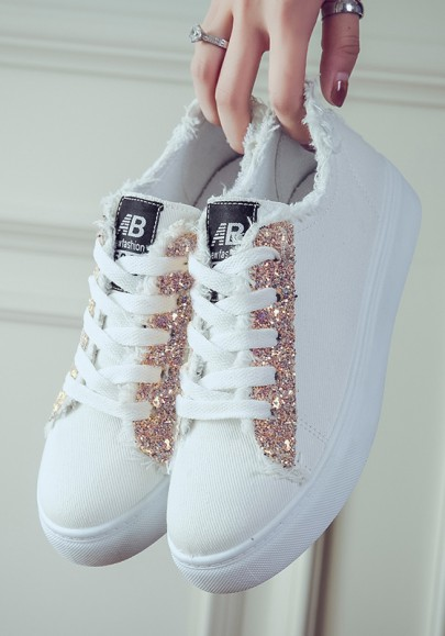 White And Pink Round Toe Sequin Fashion Heavy-Soled Shoes