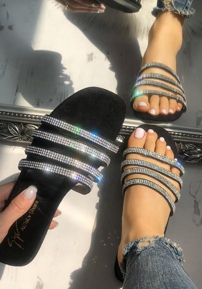 Schwarze Runde Zehe Flache mit Strass Steinen Glitzer Strand Sandalen Hippie Flip Flops Sommer Damen Schuhe