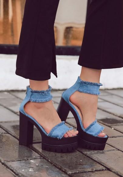 Blaue runde Zehe klobig Süß High-Heel Sandaletten