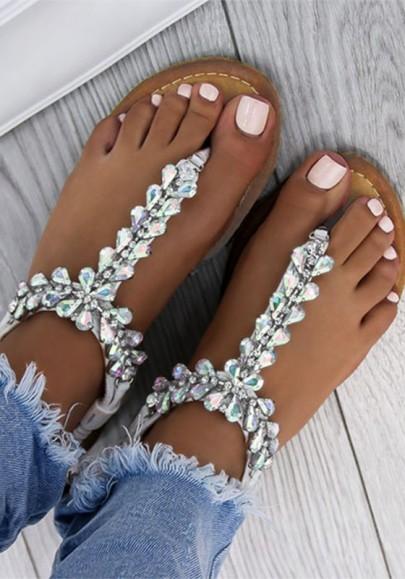 Silber Runde Zehe Flache mit Strass Strand Sandalen Zehentrenner Flip Flops Sommer Damen Schuhe