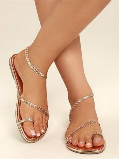 Sandales femme bout rond plat mode décontracté dorée