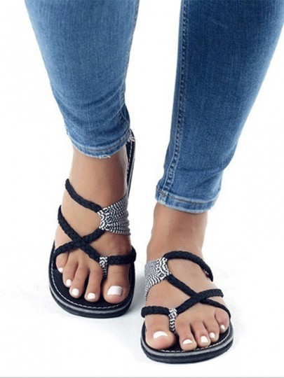 Sandales crochet bout rond plat flip flops plage tongs décontracté noir femme