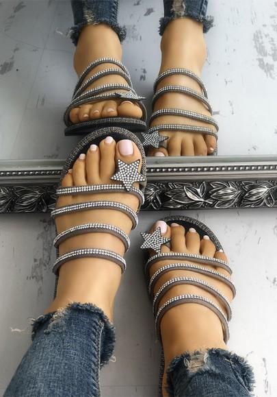 Khaki Runde Zehe Flache mit Strass Steinen Glitzer Strand Sandalen Hippie Flip Flops Sommer Damen Schuhe